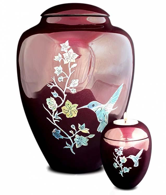 Grote Glasfiber Urn Colibri Bordeaux (3.4 liter)