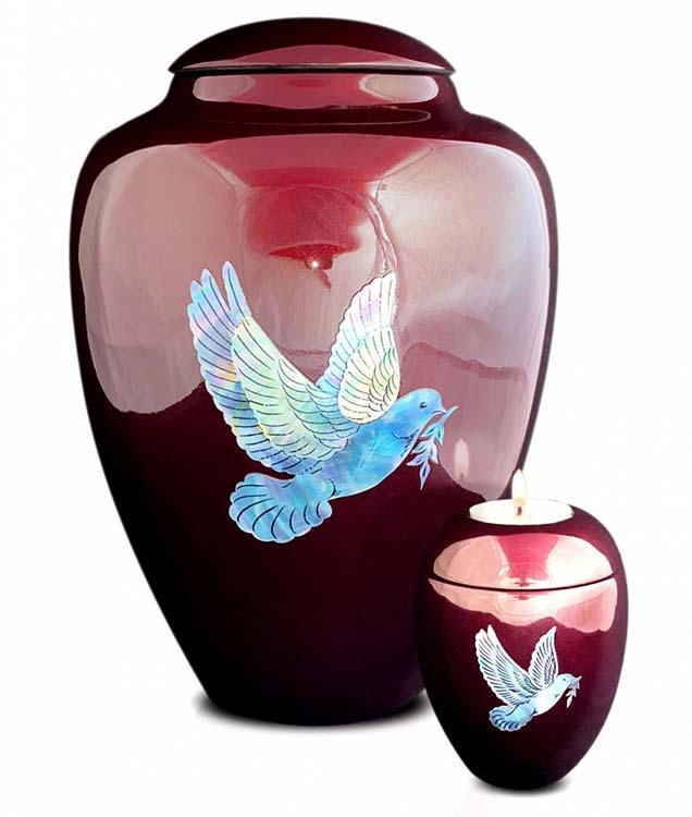 Grote Glasfiber Urn Vredesduif Bordeaux (3.4 liter)