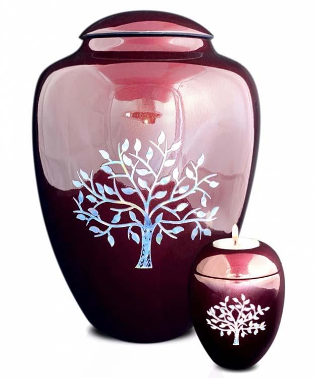 Grote Glasfiber Urn Levensboom Bordeaux (3.4 liter)