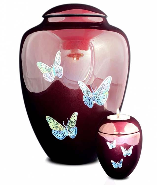 Grote Glasfiber Urn Vlinders Bordeaux (3.4 liter)