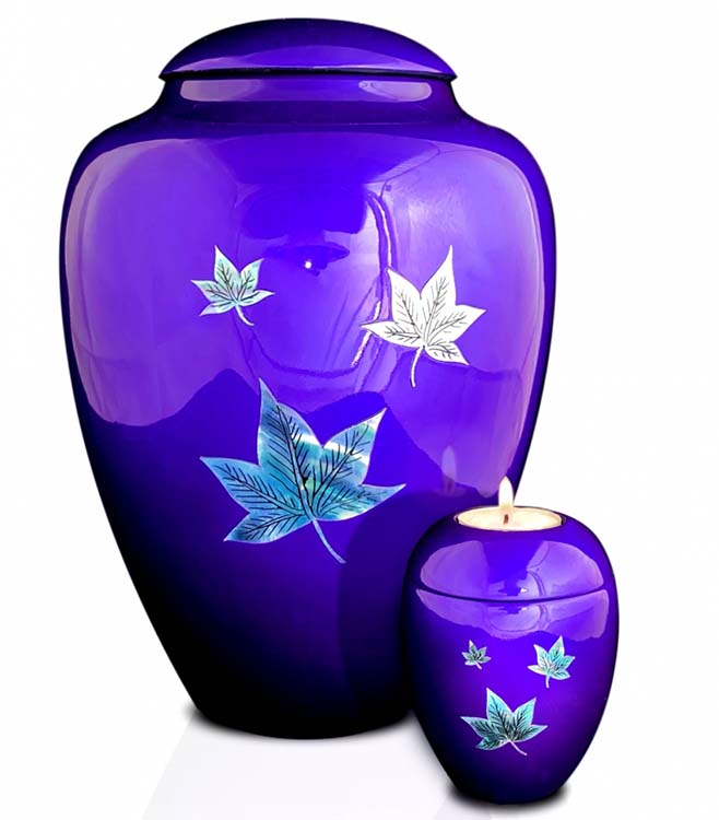 Grote Glasfiber Urn Vallende Bladeren Paars (3.4 liter)
