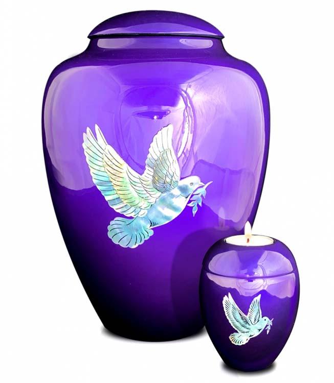 Kleine Kaarshouder Urn Vredesduif Paars (0.1 liter)