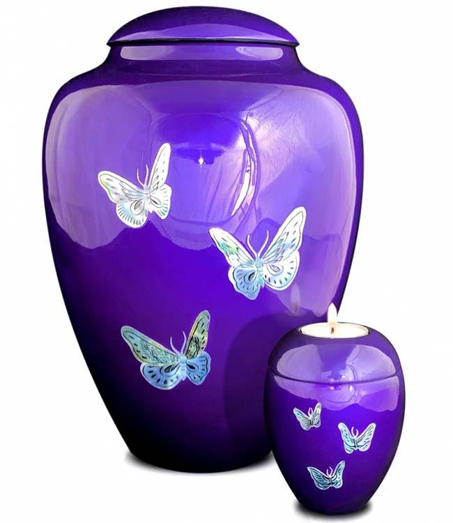 Kleine Kaarshouder Urn Vlinders Paars (0.1 liter)