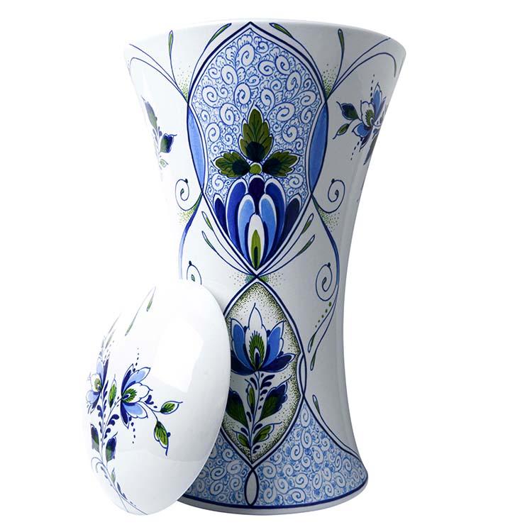 Grote Vaas Urn Slanke Taille Delfts Blauw Motief (4.5 liter)