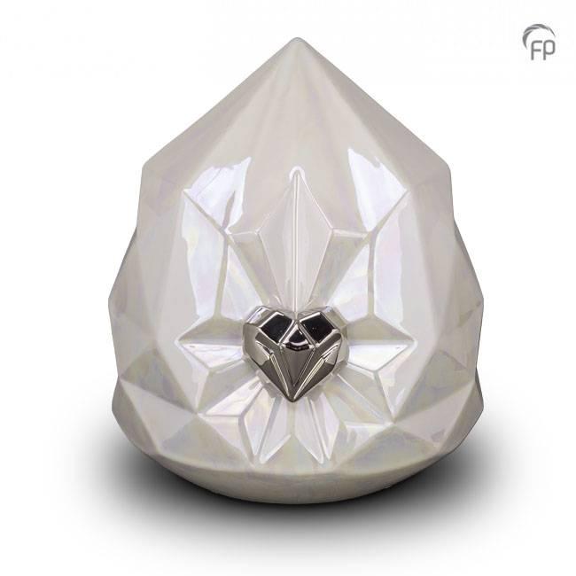 Grote Whitepearl Keramische Diamant Dierenurn (4.5 liter)
