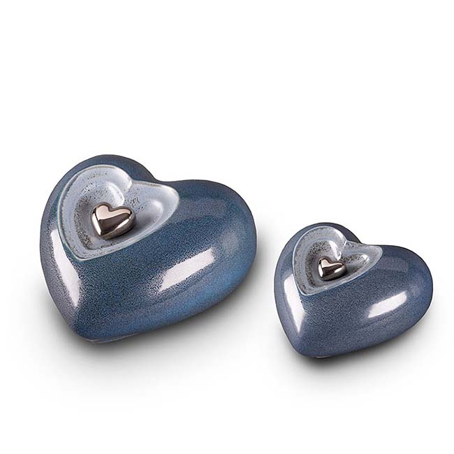 Grote Keramische Hart Urn Blue-Grey (3.8 liter)