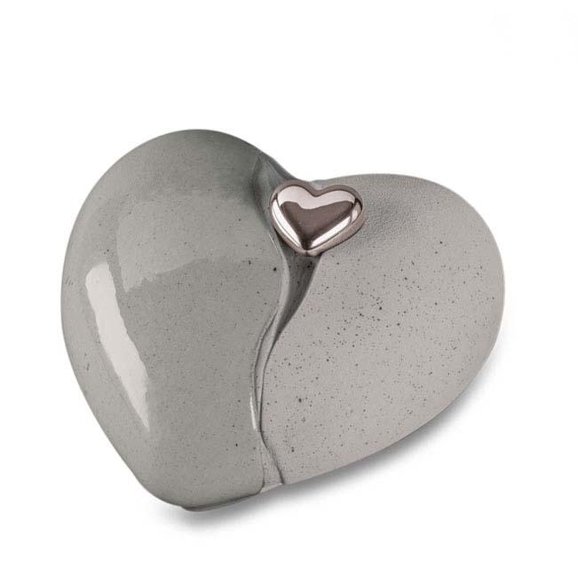 Grote Keramische Hart Urn Double Grey (3.8 liter)