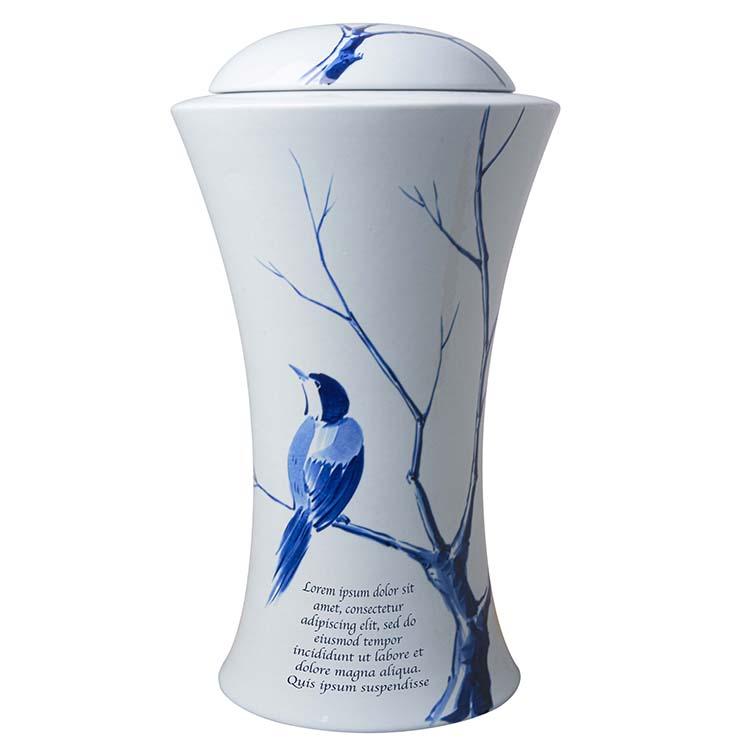 Grote Vaas Urn Slanke Taille Delfs Blauw Vogel Motief (3.5 liter)