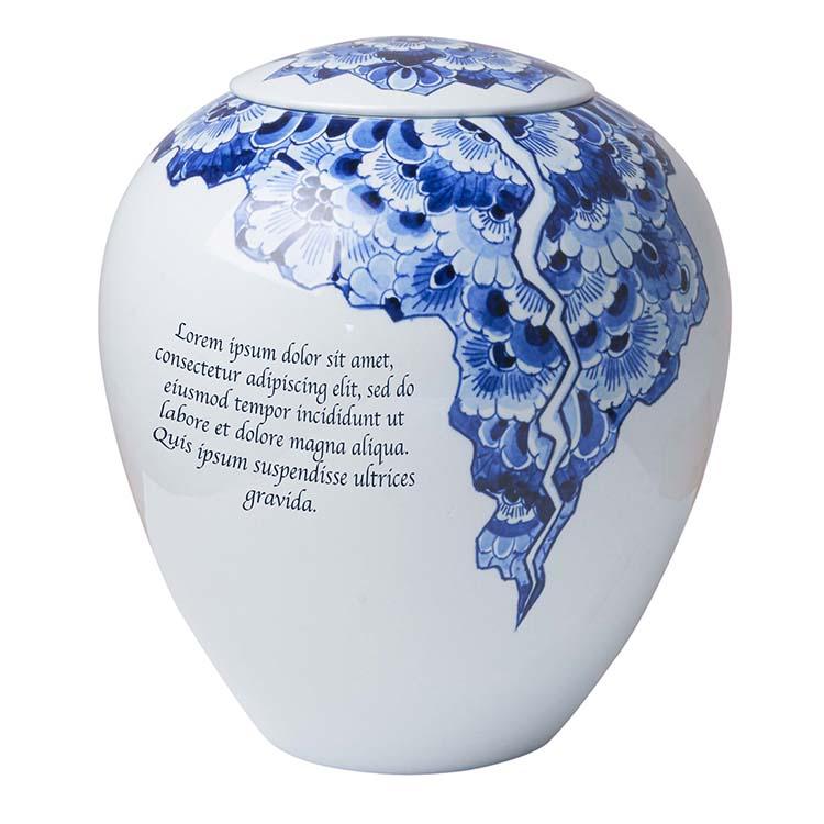 Handmatige Tekstgravure op uw Delfts Blauwe Urn