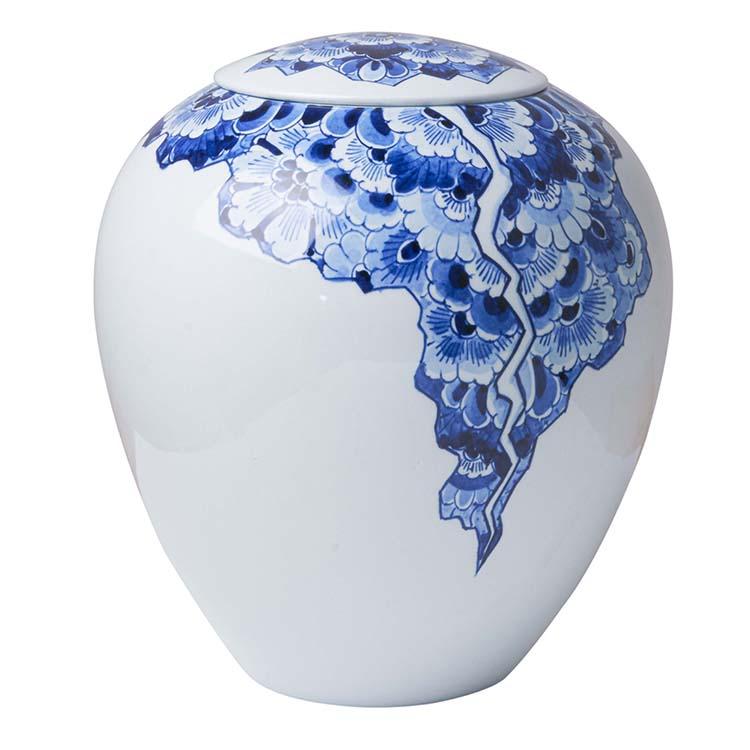 Grote Bolle Vaas Urn Delfts Blauw Motief (3 liter)