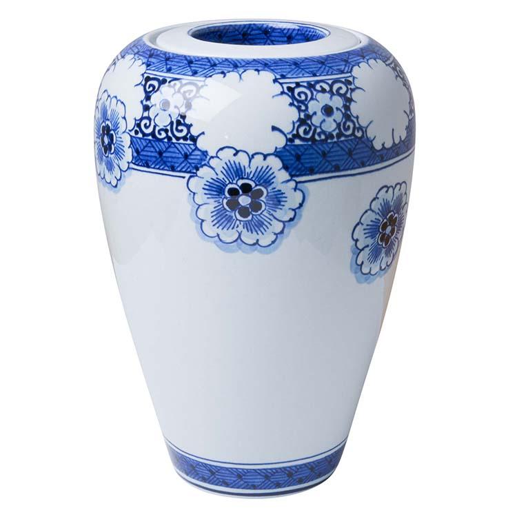 Kleine Vaas Urn Delfts Blauw Vallend Bloem Motief (1 liter)