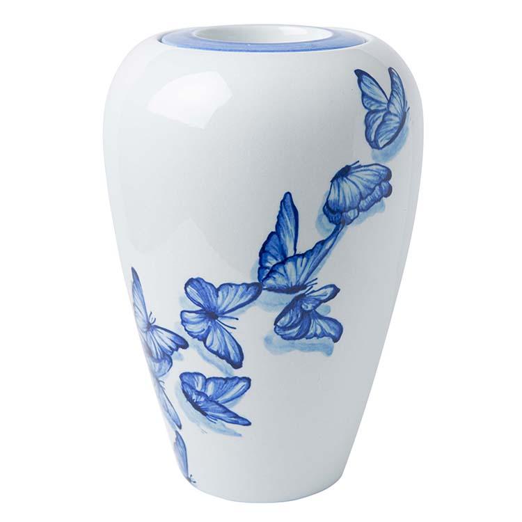 Kleine Vaas Urn Delfts Blauw Fladderende Vlinders (1 liter)