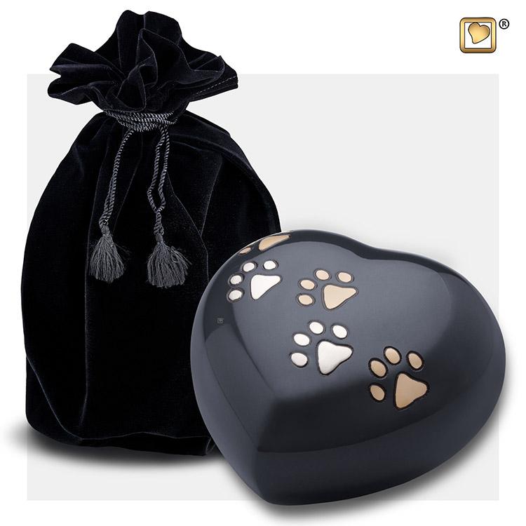 LoveUrns Hart Dierenurn Large Midnight Black (0.8 liter)