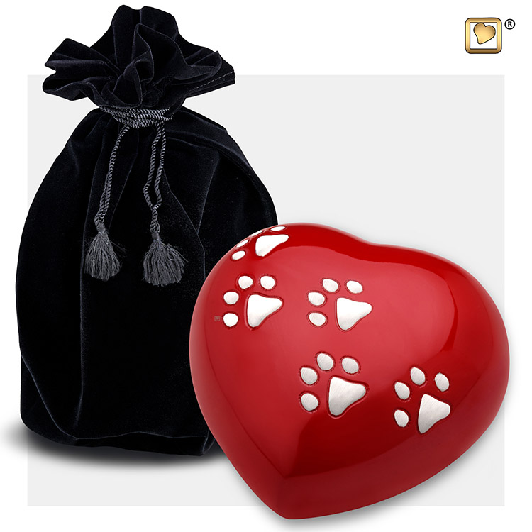 LoveUrns Hart Dierenurn Shiny Red Large (0.8 liter)