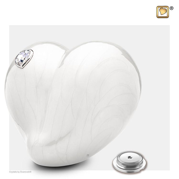 Grote LoveHeart Dierenurn Wit Gemarmerd Swarovski (4 liter)
