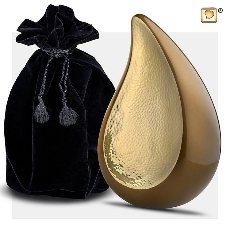 Teardrop Urnen Voordeelset Golden Brown - Gehamerd Goud (2.74 liter totaal)