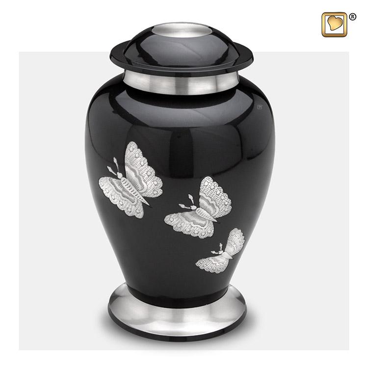 Grote LoveUrns Urn Midnight Black, Vlinders (3.2 liter)