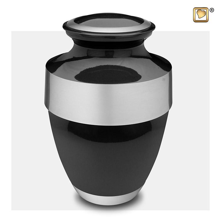 Grote LoveUrns Urn Midnight Black - Matzilver (3.2 liter)