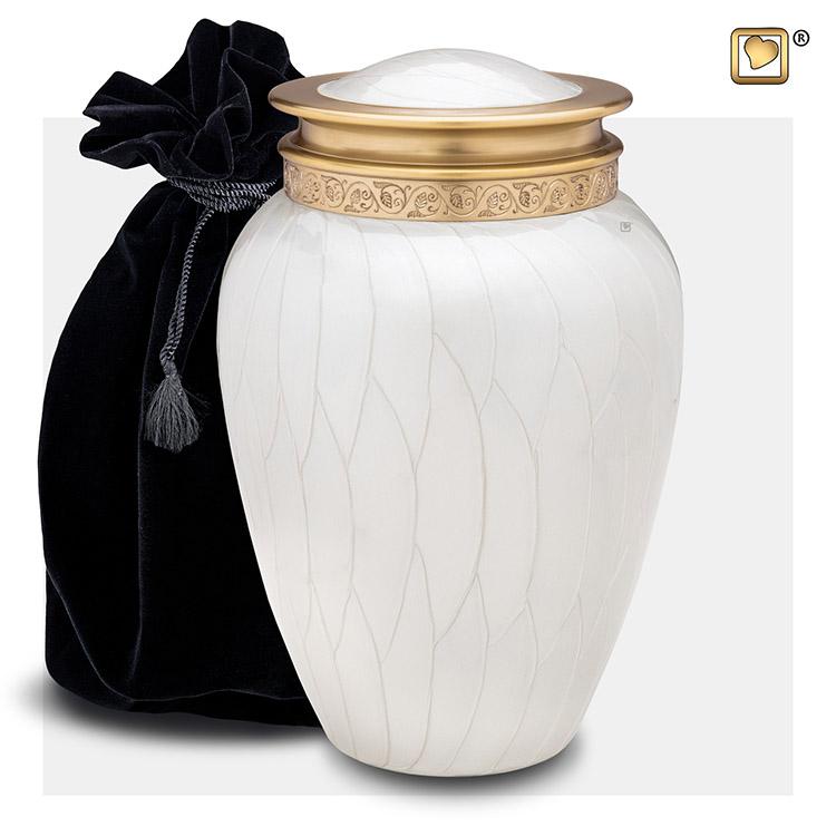 Grote Blessing Urn Witmarmer, Gouden Sierrand (3.8 liter)