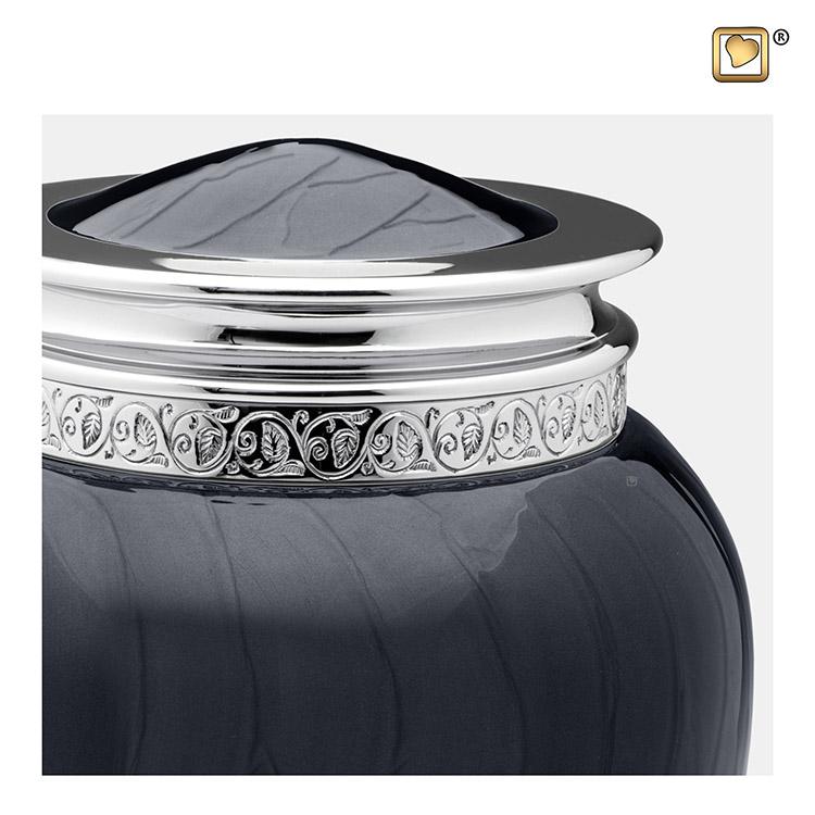 Grote Blessing Urn Zwartmarmer, Zilver Sierand (3.8 liter)
