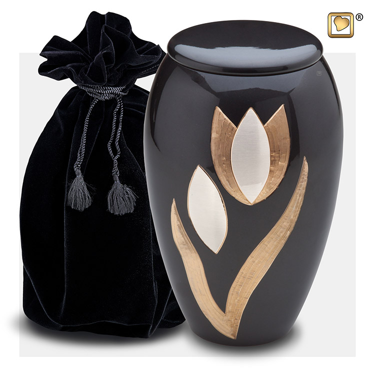 Grote Midnight Zwart Messing Urn - Messing Tulp (3.6 liter)