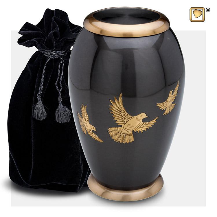Grote LoveUrns Urn Matgouden Duiven (3.35 liter)