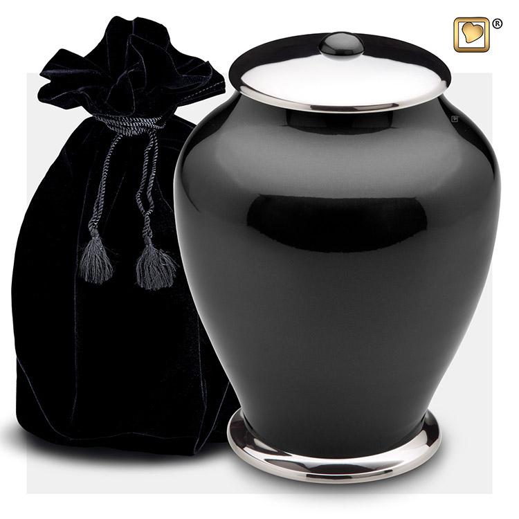 Grote LoveUrns Simplicity Urn Zwart-Zilver (3.7 liter)