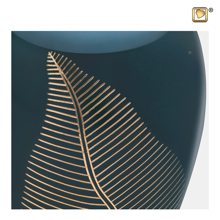 Grote Messing Urn Smaragdgroen, Golden Feather (2.9 liter)