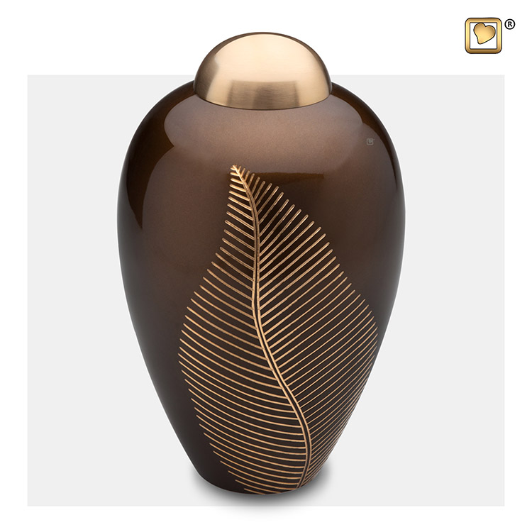 Grote Messing Urn Golden Brown, Bronze Feather (2.9 liter)