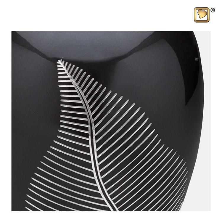 Grote Messing Urn Midnight Zwart, Silber Feather (2.9 liter)