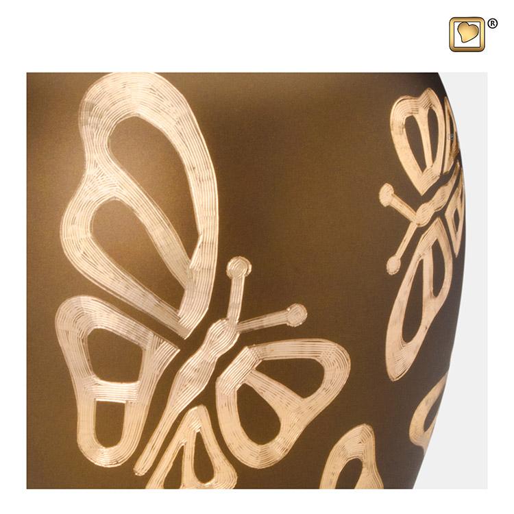 Grote Messing Vaasurn Golden Brown Vlinders (2.9 liter)