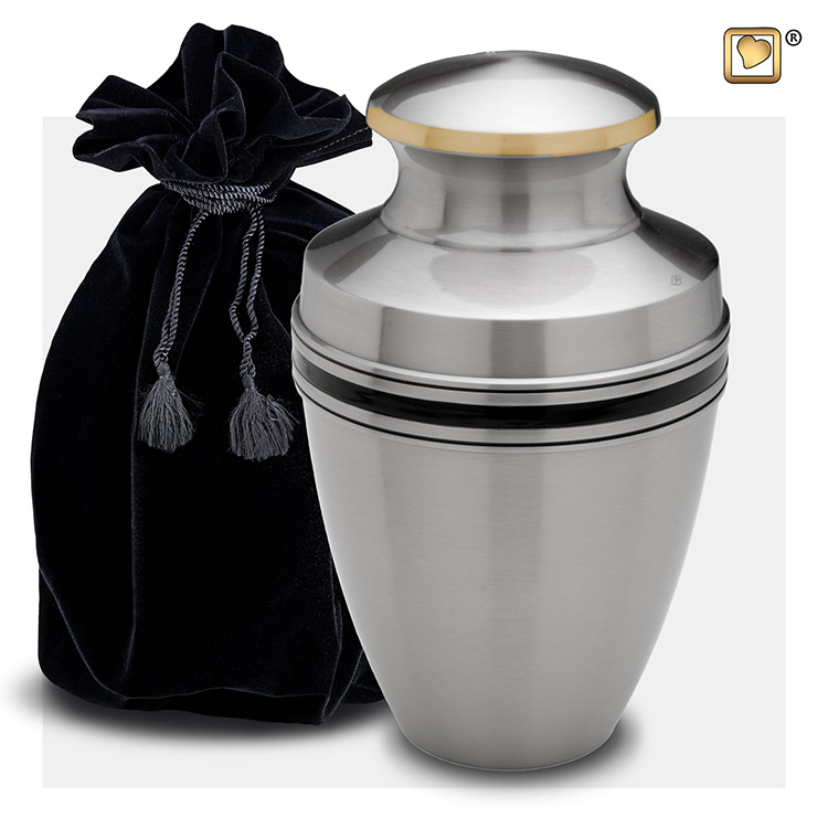 Grote LoveUrns Urn Matzilver Zwarte Sierbanden (3.8 liter)