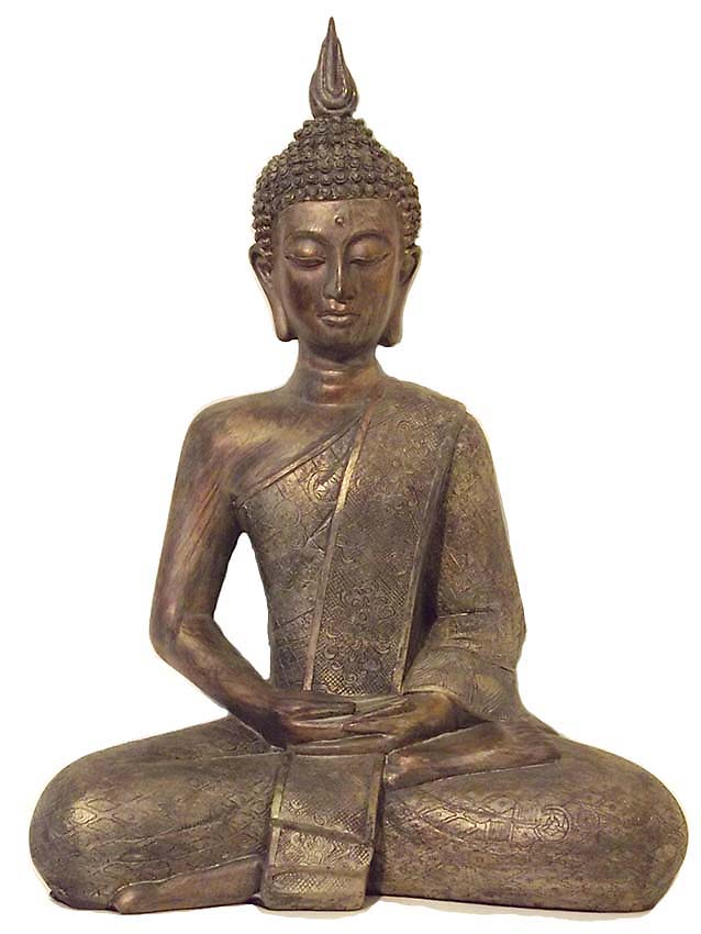 Grote Thaise Meditatie Boeddha Urn Oudbrons  (3.5 liter)