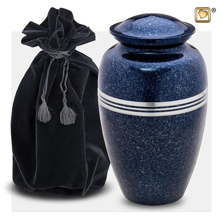 Grote LoveUrns Urn Klassiek Gespikkeld Indigo (3.4 liter)