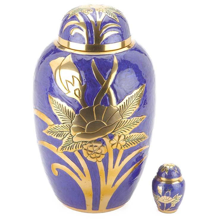 Grote Messing Urn Paarsblauw - Gouden Bloemen (3.3 liter)