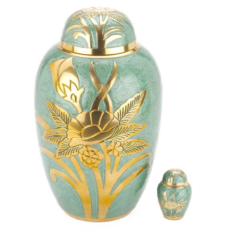 Grote Messing Urn Jadegroen - Gouden Veldboeket (3.3 liter)
