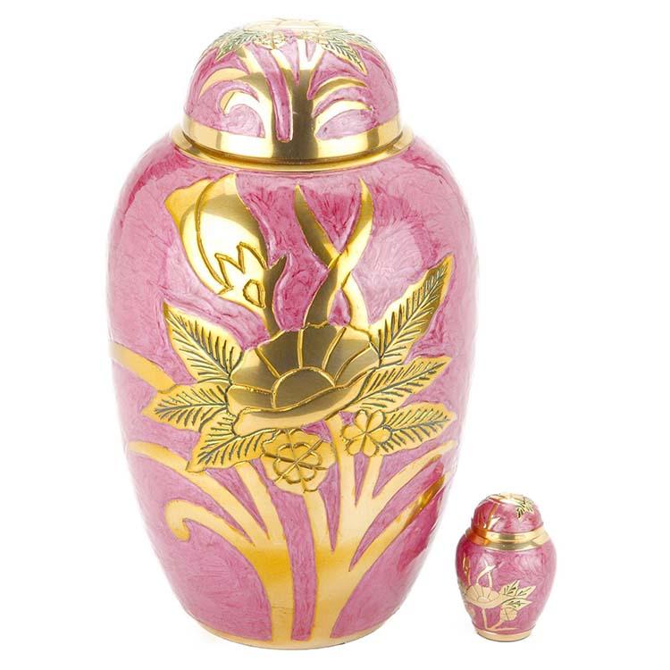 Grote Messing Urn Roze - Gouden Veldbloemen (3.3 liter)