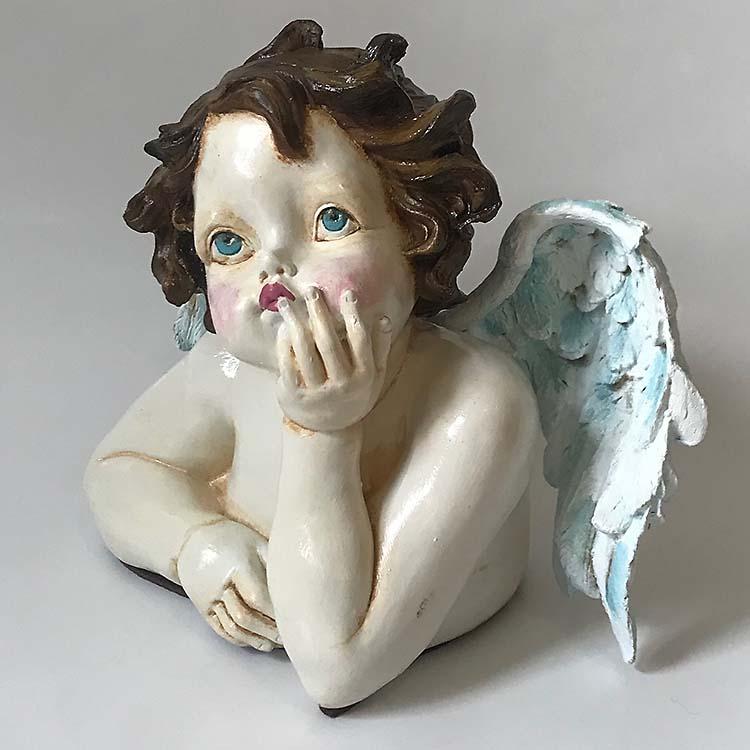 Handgeschilderde Engel Dierenurn In Gedachten (1.2 liter)
