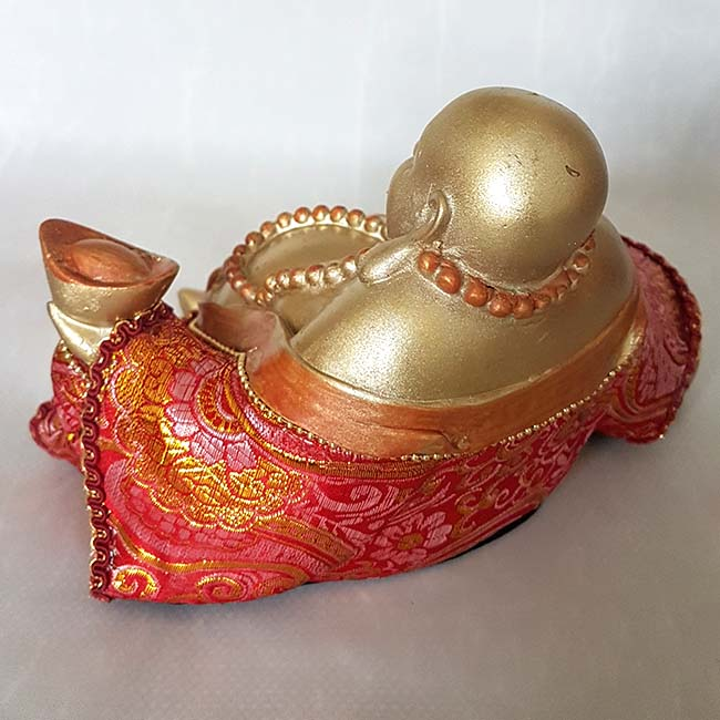 Beklede Happy Boeddha Urn Shiny Gold (1 liter)