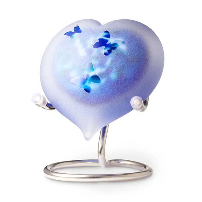 Kristalglazen Hart Urn Blauw Frosted Vlinders (0.05 liter)