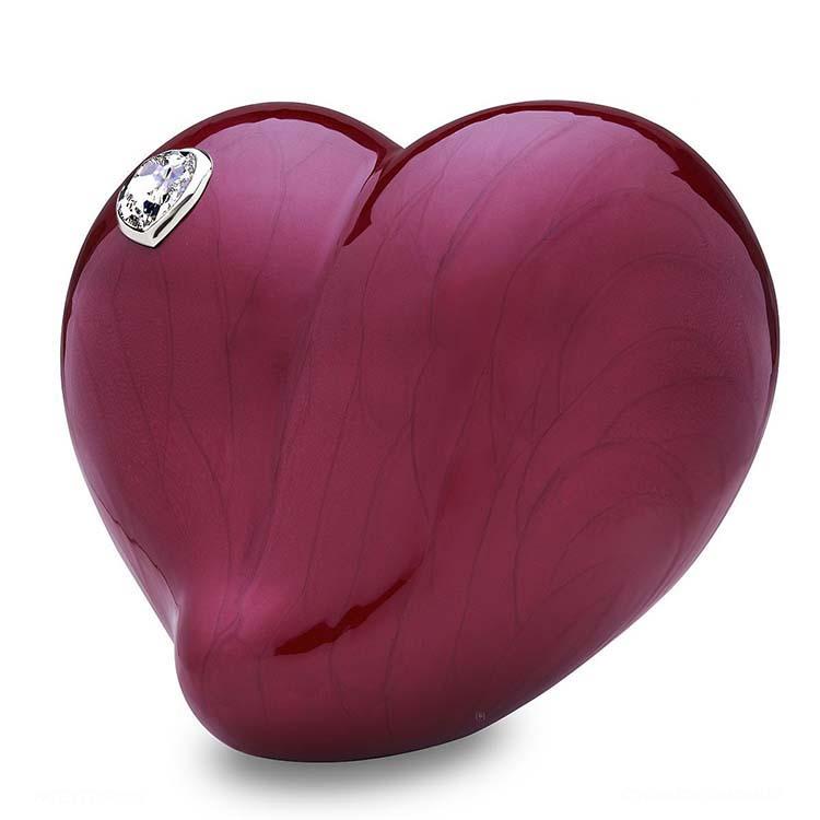 Grote LoveHeart Dierenurn Rood Gemarmerd met Swarovski (4 liter)