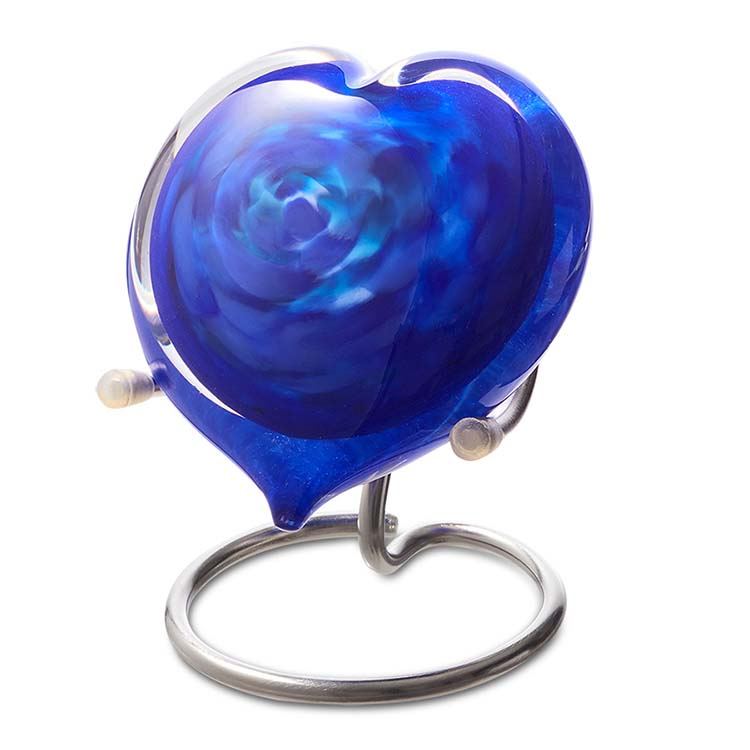 Kristalglazen Hart Dierenurn Blauw Opaque (0.05 liter)