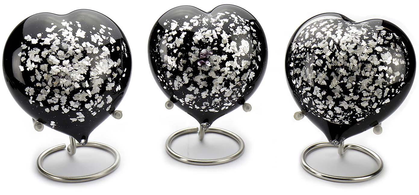Kristalglazen Hart Urn Zwart-Zilver Opaque (0.18 liter)