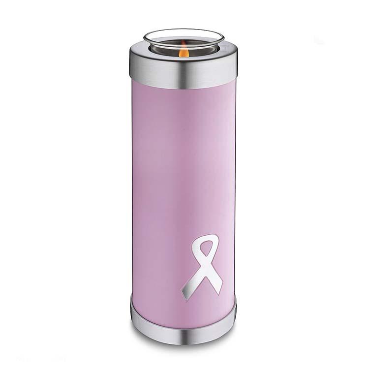 Hoge Urn met Waxinelichtje Pink Ribbon (1.1 liter)