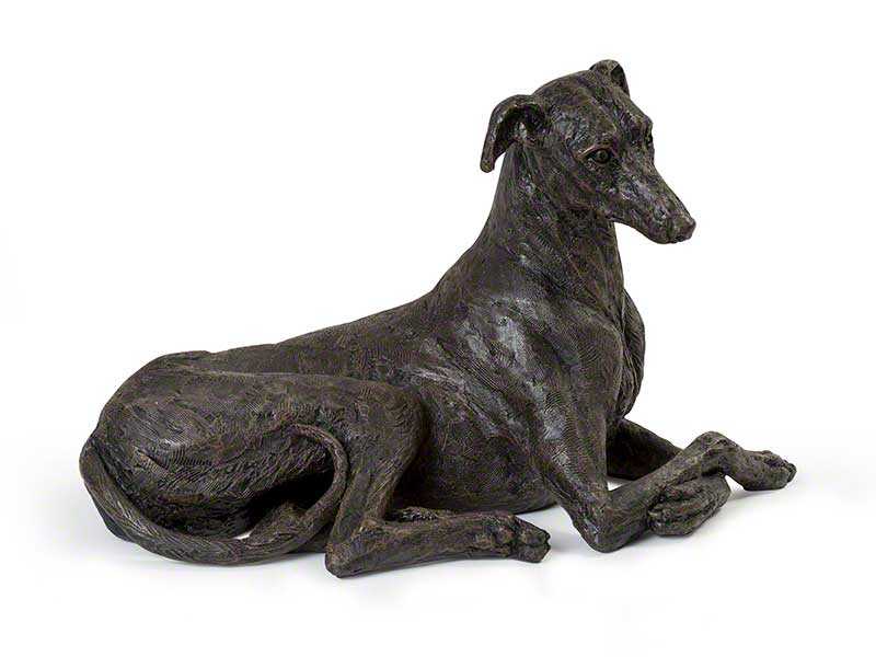 Hondenurn of Asbeeld Liggende Greyhound (ca. 2 liter)