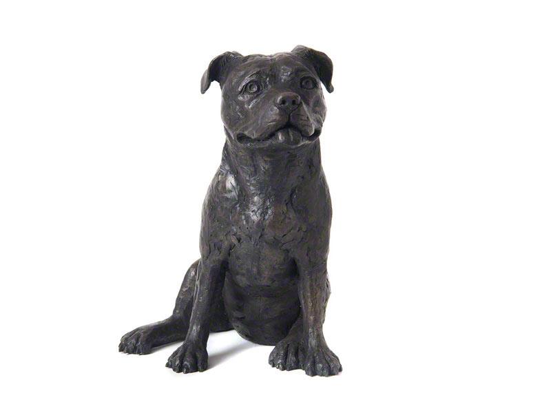 Hondenurn of Asbeeld Zittende Bull Terrier (2 liter)