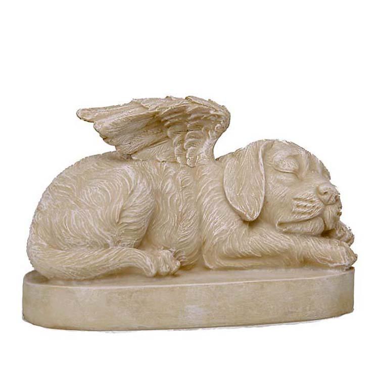 Honden Urn of Honden Asbeeld op Sokkel, Hond met Engel Vleugels (1.5 liter)