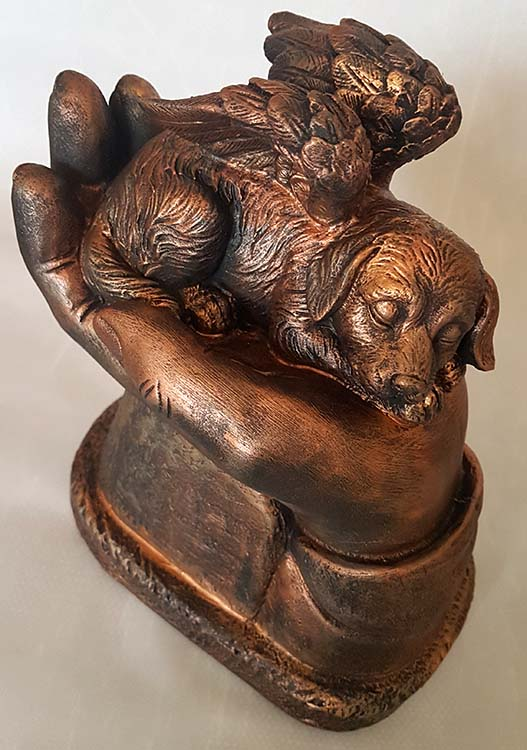 Honden Asbeeld Op Handen Gedragen Brons (1 liter)