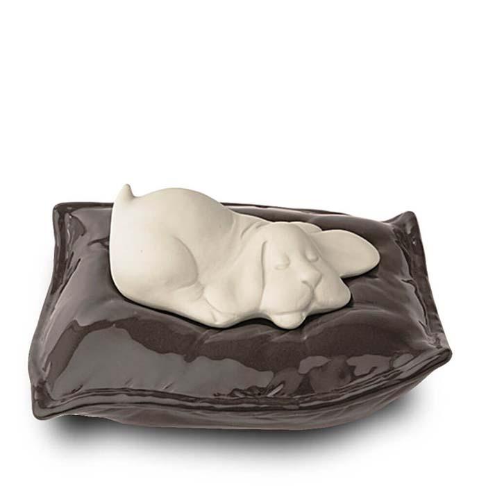 Witte Dierenurn Slapend Hondje op Kussen (0.8 liter)