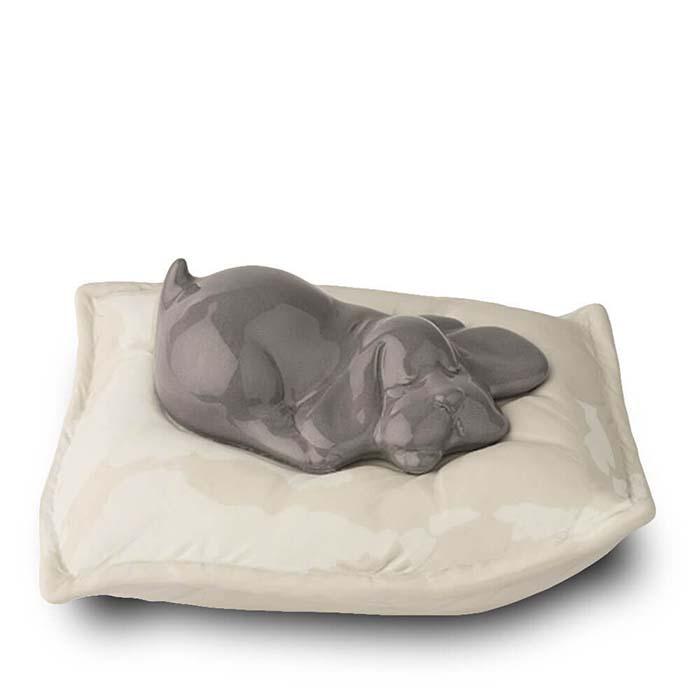 Dieren Urn Grijs Slapend Hondje op Kussen (0.8 liter)
